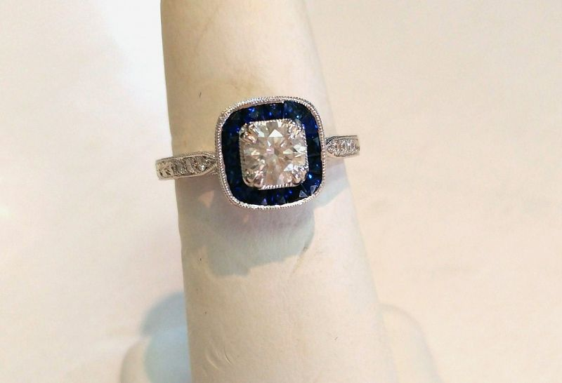 PLATINUM DIAMOND WEDDING SET .66 EMERALD CUT MAJOR DIAMOND wBAGUETTES