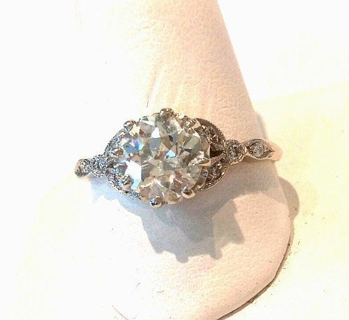 PLATINUM DIAMONDS ART DECO ERA ENGAGEMENT RING   1.18 CENTER STONE