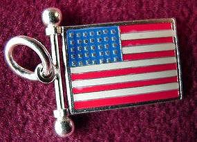OLD GLORY U.S. FLAG CHARM { Sterling & Enamel