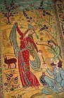 PERSIAN PICTORAL RUG  HAND WOVEN OMAR KHAYYAM DEPICTION
