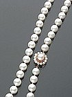 MATINEE LENGTH CULTURED PEARL & RUBY NECKLACE