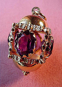 14K LANTERN~SHAPED FOB with AMETHYSTS