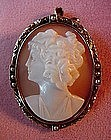 14K ANTIQUE CAMEO BROOCH with PEARLS