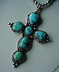 STERLING & TURQUOISE NATIVE AMERICAN CROSS AND CHAIN