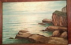 MAINE COASTAL SCENE OIL ON BOARD