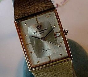 JULES JURGENSEN GENTS QUARTZ WRISTWATCH RECTANG. CASE