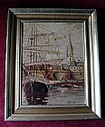 "M. KEVORKIAN SHIPS IN A HARBOR OIL ON BOARD 9"" X 12"""
