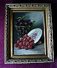 OIL ON CANVAS SIGNED PELLETIER RASPBERRIES & PLUMS