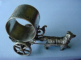 VICTORIAN S.P. DOG PULLING CART FIGURAL NAPKIN RING