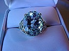 BEAUTIFUL 14K WHITE GOLD FILIGREE AND AQUAMARINE RING