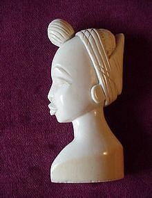 Excellent CARVING Of An AFRICAN LADY In IVORY