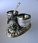800 SILVER FIGURAL BEAST OF BURDEN DOUBLE SALT CELLAR
