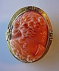 BEAUTIFUL ANTIQUE 14K GOLD CORAL CAMEO