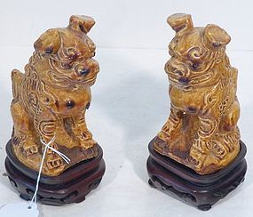 PAIR CHINESE CERAMIC FOO LIONS GOLD GLAZE