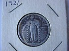 KEY DATE US COIN 1921 STANDING LIBERTY QUARTER VG~F