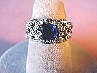 SAPPHIRE RING wMany DIAMONDS in PLAT{a BEAUTY