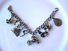 DISNEY CHARACTERS STERLING CHARM BRACELET
