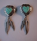 STER HEART FEATHERS & TURQUOISE NATIVE AMERICAN ER's