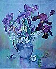 DC ARTIST LEWIS BARBOUR OIL ON CANVAS IRISES IN A VASE