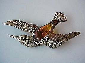 STERLING RETRO BIRD PIN CITRINE COLOR STONE RS ACCENTS