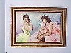 Painting of TWO BALLERINAS  { OIL ON CANVAS