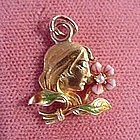 14K ART NOUVEAU PENDANT { LADY with ENAMELS