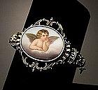 Victorian 14K YG Bangle Bracelet RAPHAEL ANGEL Plaque