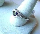 ART DECO PLATINUM SAPPHIRE DIAMOND FILIGREE RING