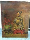 ANTIQUE OIL ON CANVAS PAINTING BUDDHA & CHINESE BOWL Signed STEIN