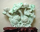CARVED JADE 2 FISH PLAQUE SPLASHES OF APPLE GREEN