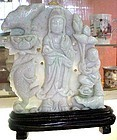 CHINESE JADE PLAQUE DEPICTING QUAN YIN
