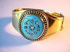 RUSSIAN 14K ENAMEL & OLD CUT DIAMONDS BANGLE BRACELET