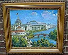 CHICAGO WORLDS FAIR OF 1893 PAINTING... OIL ON BOARD