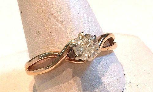 ESTATE DIAMOND ENGAGEMENT RING .35 CARAT IN 14K YELLOW GOLD