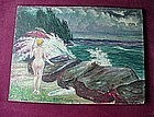 OIL on ARTIST's BOARD..NUDE LADY with Parasol by GILBERT E. BALDWIN
