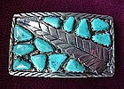Sterling & Multi TURQUOISE BUCKLE ca. 1950