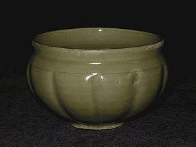 Song Dynasty - Yaozhou Celadon Melon Shaped Bowl