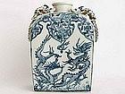 Rare Blue and White Pilgrim Flask � Circa Late 19th Cen