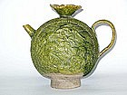 Liao Dynasty - Moulded Green Glazed Moon Flask Ewer