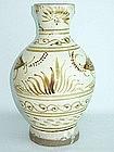 Yuan Dynasty - Iron Brown Painted Cizhou Vase