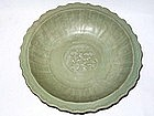 Ming Dynasty - Large Celadon Dish with Barb Rim