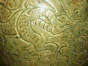 Yuan Dynasty -  Dragon and Phoenix Motif Celadon Vase