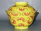 Qing Dynasty - Famille Jaune Bat Motive Tea Cup