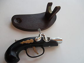 Vintage 1950s Doline Old Style Pistol Lighter and Stand