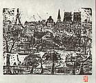 Munakata Shiko 1998 Calendar Print - Paris Scene