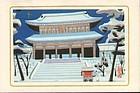 Yamamoto Tomokatsu Woodblock Print - Temple Vendor