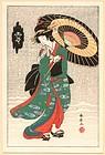 Katsukawa Shunsen Woodblock Print - Yuki (Snow)