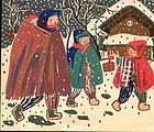 Kiyoshi Saito Woodblock Print  - 1952 Snow SOLD