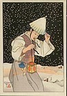 Paul Jacoulet Woodblock Print - Nuit de Neige SOLD