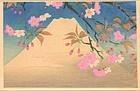 Japanese Woodblock Print - Mt Fuji and Cherry 1952
